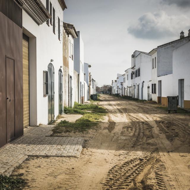 """""""Sandy streets of El Rocio, Andalucia, Spain."""" stock image"""