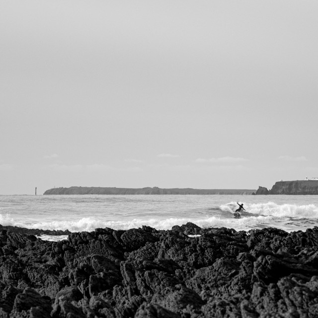 """""""Surfing Freshwater West"""" stock image"""