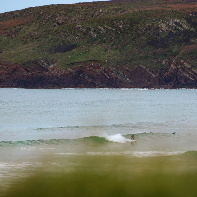 """""""Freshwater West Surfers"""" stock image"""