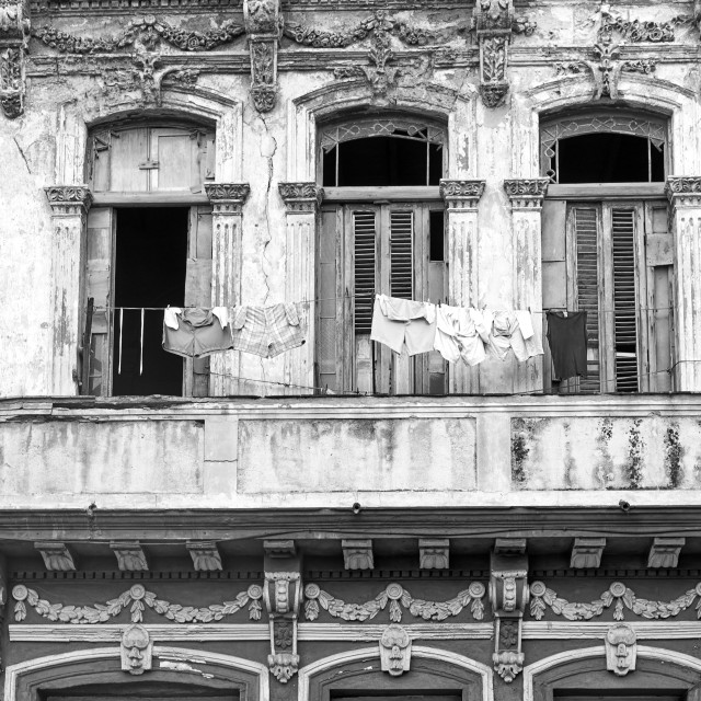 """Laundry and architectural detail in Havana, Cuba"" stock image"