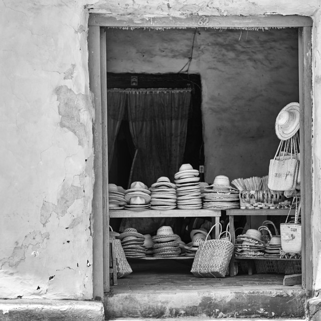 """Hats for sale in Trinidad, Cuba."" stock image"