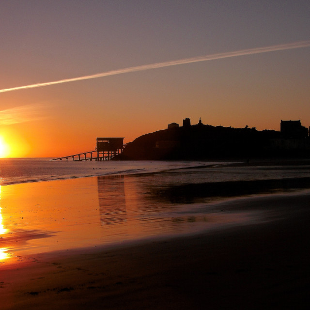"""""""Sunrise over Tenby"""" stock image"""