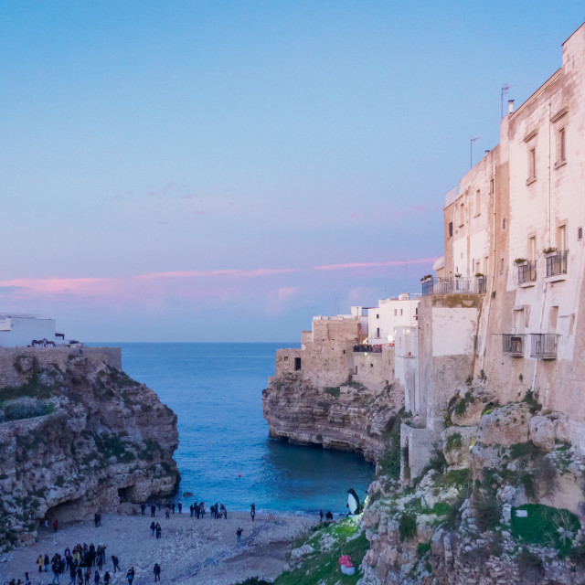 """Cliff top houses at dusk Italy"" stock image"