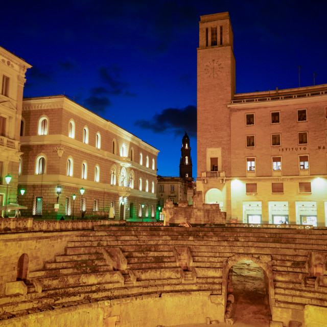 """Roman Amphitheatre Lecce at night"" stock image"