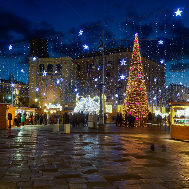 """Christmas Illuminations and Market at night"" stock image"