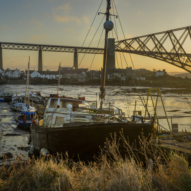 """""""North Queensferry Sleeping Boats"""" stock image"""