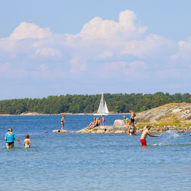 """Sweden, Stockholm Archipelago - People having fun in water"" stock image"