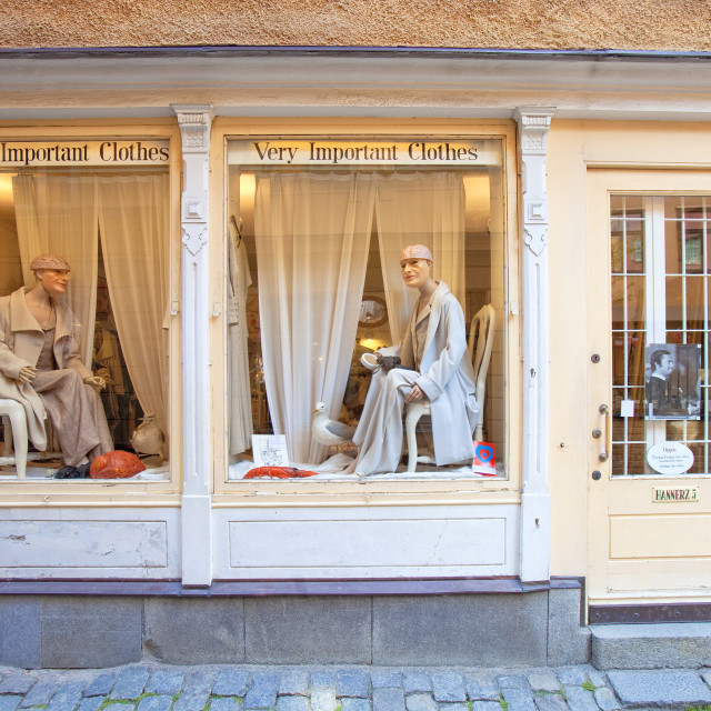 """Sweden, Stockholm - Small boutique with clothes in The Old Town."" stock image"