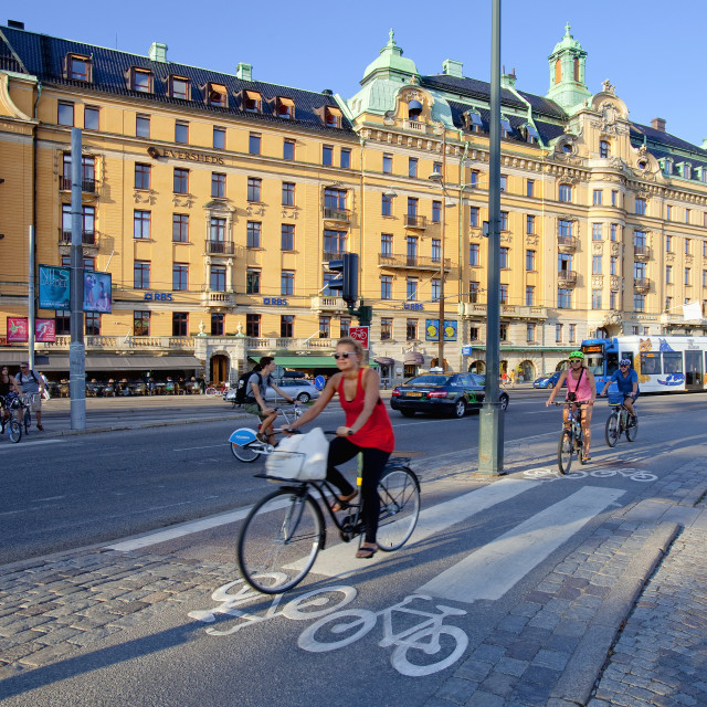 """Sweden, Stockholm - Bicycle traffic."" stock image"