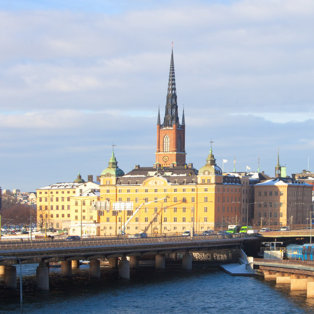"""Sweden, Stockholm - City Hall, Riddarholmen and Traffic."" stock image"
