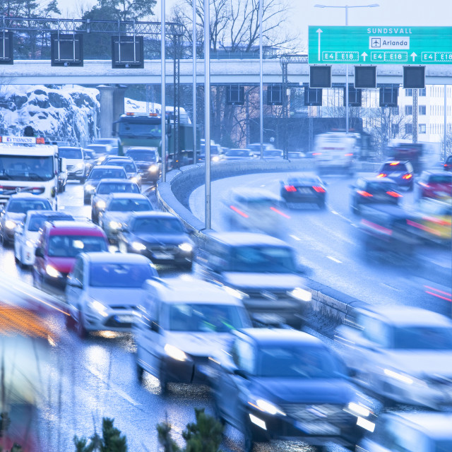 """Sweden, Stockholm - Traffic into City during Rush Hour at Haga N"" stock image"