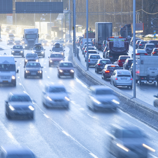 """""""Sweden, Stockholm - Traffic into City during Rush Hour at Haga N"""" stock image"""