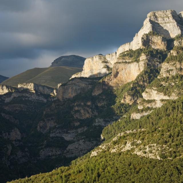 """Moody Skies over Canon de Anisclo"" stock image"