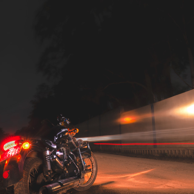 """Bike & Light Trails"" stock image"
