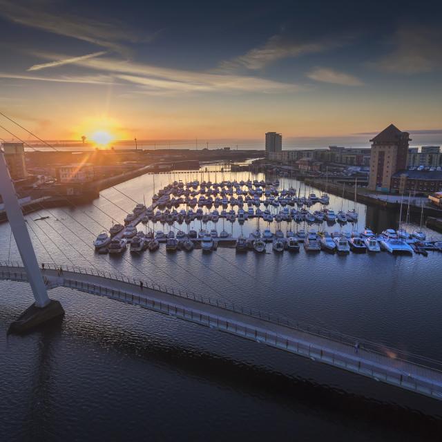 """""""Sunrise at Swansea Marina"""" stock image"""
