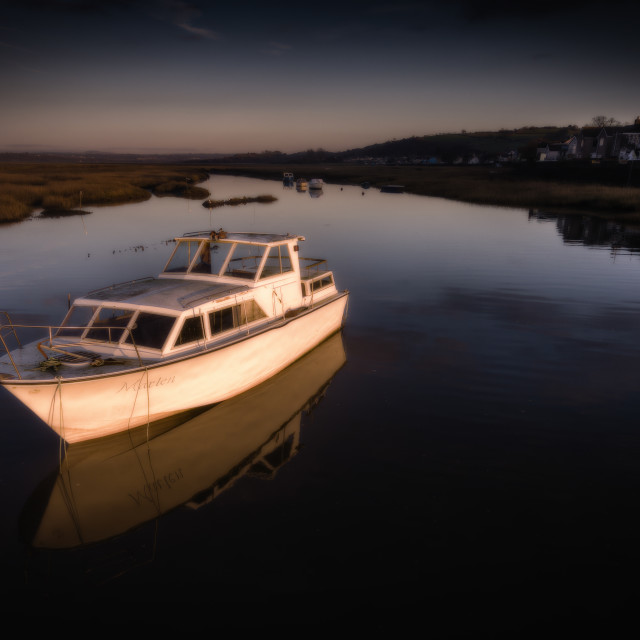 """""""Penclawdd boat at dusk"""" stock image"""