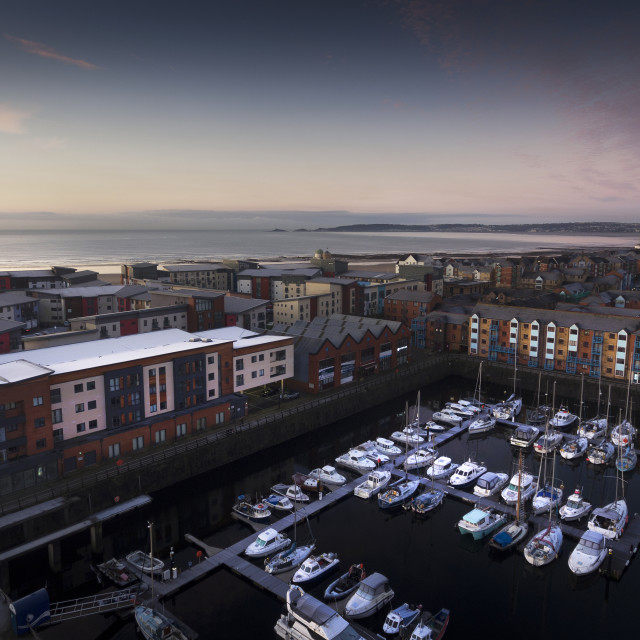 """Swansea Marina and Mumbles"" stock image"