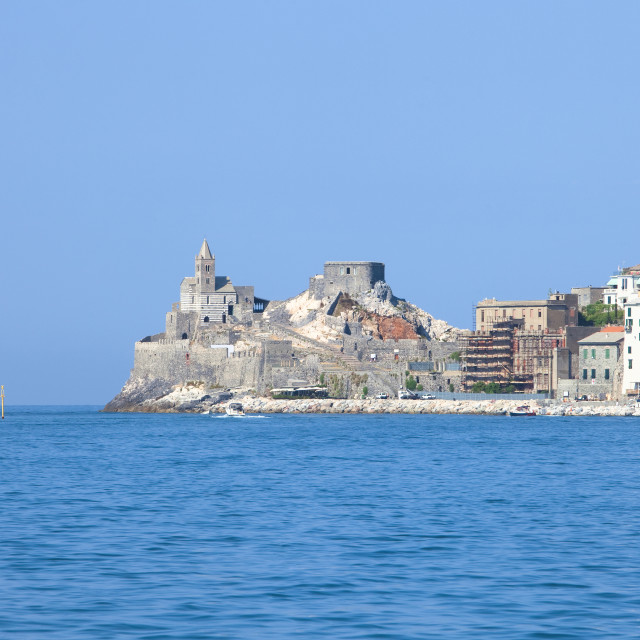 """Italy, Liguria, La Spezia, Portovenere, San Pietro Church."" stock image"
