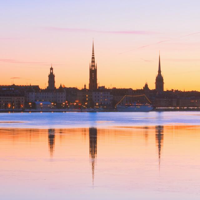 """""""Sweden - Stockholm Skyline at Dawn"""" stock image"""