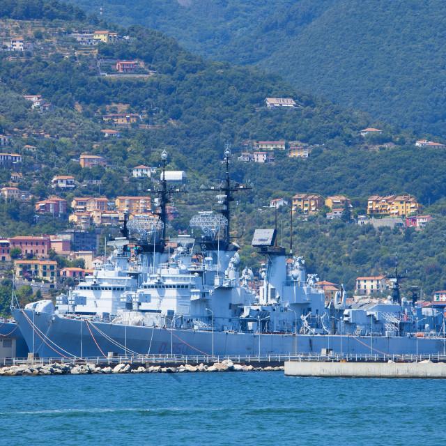 """Italy, Liguria, La Spezia, Port of La Spezia."" stock image"