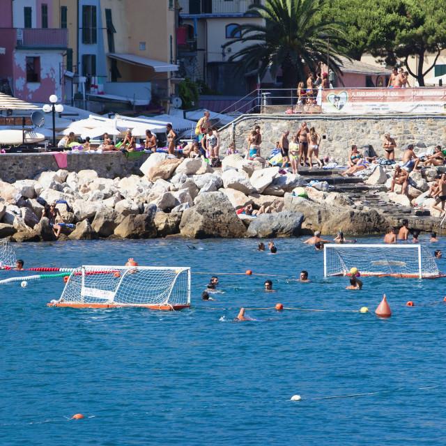 """Italy, Liguria, Portovenere - Playing Water Polo in Mediterranea"" stock image"