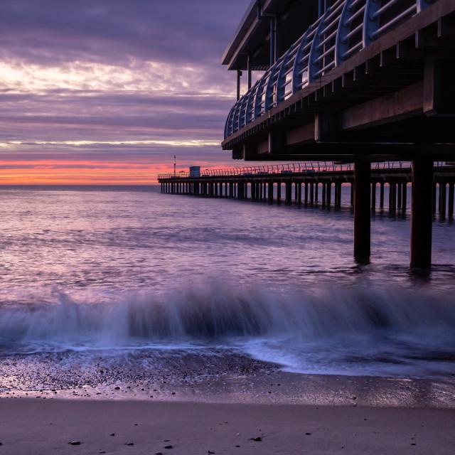 """Felixstowe Pier Blue Hour"" stock image"