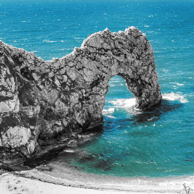 """""""Durdle Door rock arch. Lulworth on the Dorset Coast Southern England."""" stock image"""