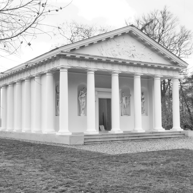 """Painshill, Cobham, England, UK January 11 2020. Greek Folley"" stock image"