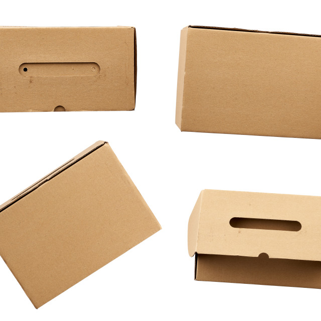 """""""set of closed brown rectangular cardboard boxes for transporting"""" stock image"""