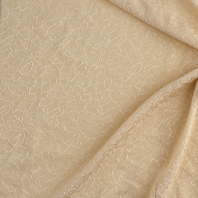 """""""beige satin textile fabric with embroidery elements, piece of ca"""" stock image"""