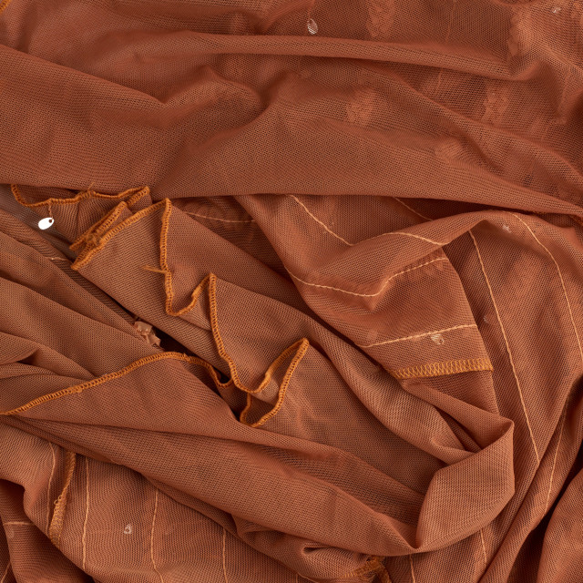 """""""crumpled brown tulle, fabric for sewing clothes"""" stock image"""