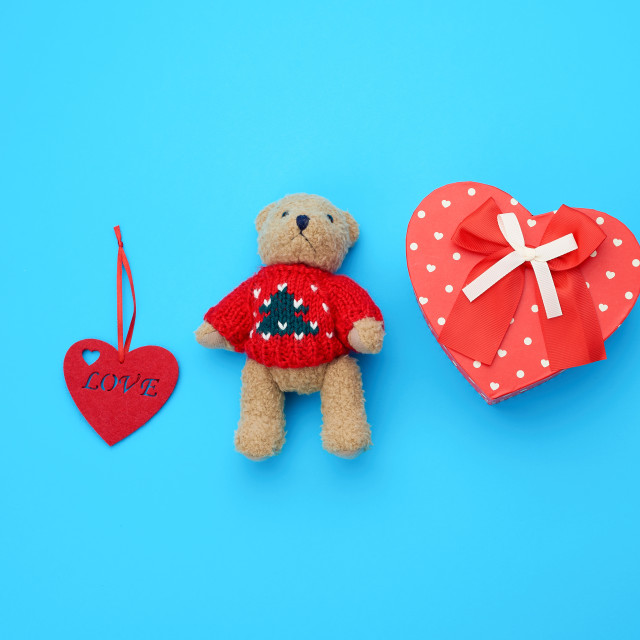 """""""red cardboard box in the form of a heart and little brown teddy"""" stock image"""