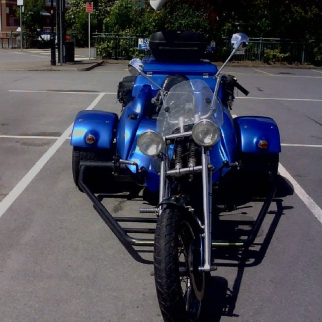 """""""motorbike, tricycle easy rider front blue"""" stock image"""
