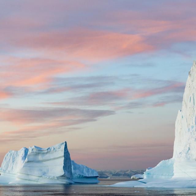 """Arctic icebergs in Scoresby sund"" stock image"