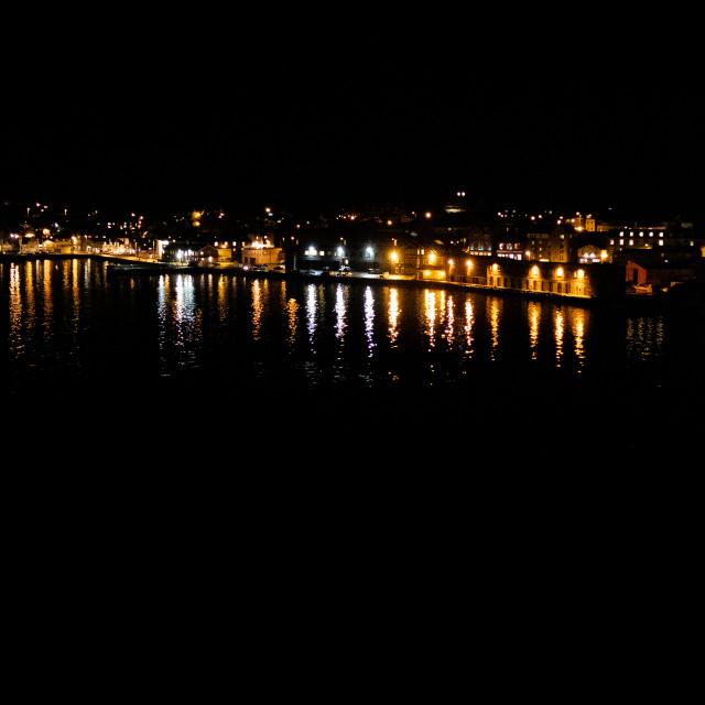 """Lerwick Waterfront at Night"" stock image"