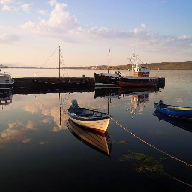 """Boats in Lerwick"" stock image"