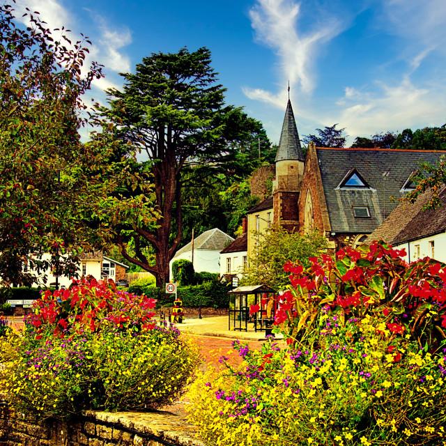 """""""Twyne Square Flowers - Usk, Herefordshire"""" stock image"""