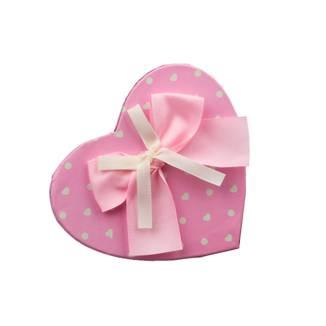 """""""pink heart-shaped cardboard box with bow isolated on white backg"""" stock image"""