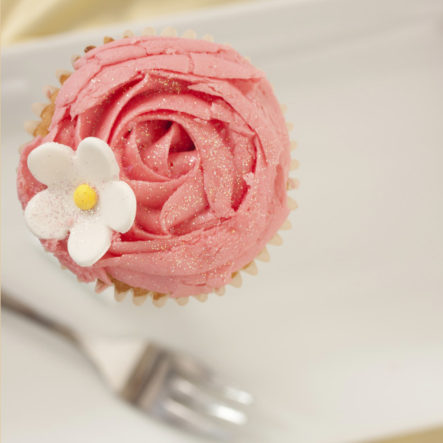 """Strawberry Cupcake on a plate"" stock image"
