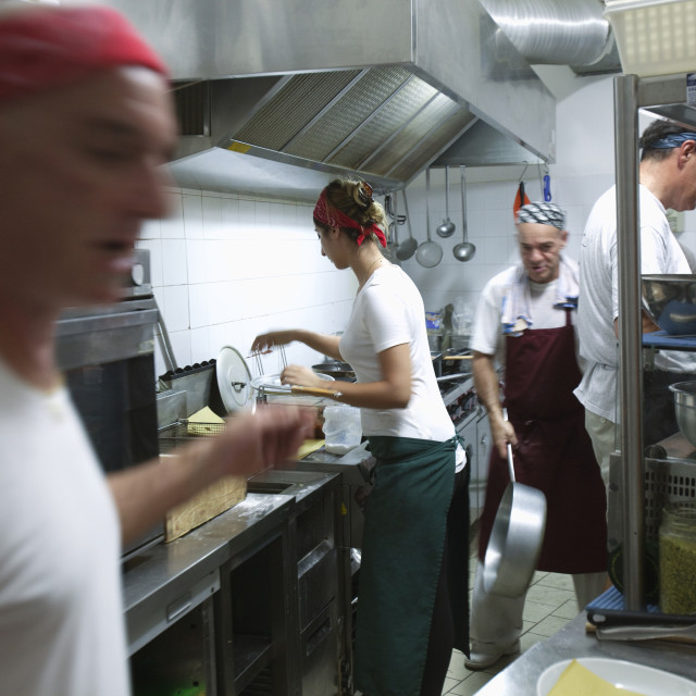 """Italy Liguria Lerici - Busy Kitchen"" stock image"