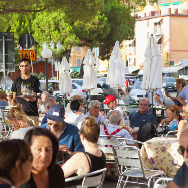 """Italy Liguria Lerici - People in Outdoor Restaurant"" stock image"