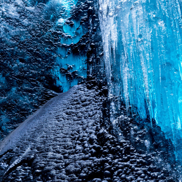 """""""Droplets fall in the ice cave"""" stock image"""