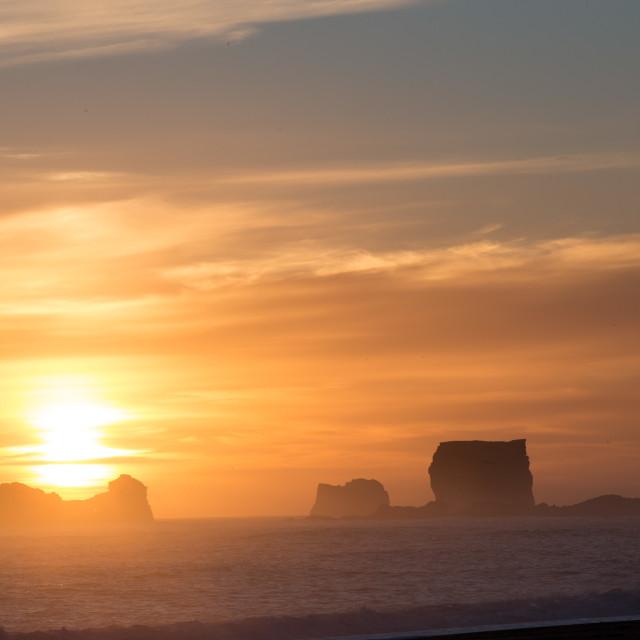 """The sun sets near Vik, Iceland"" stock image"