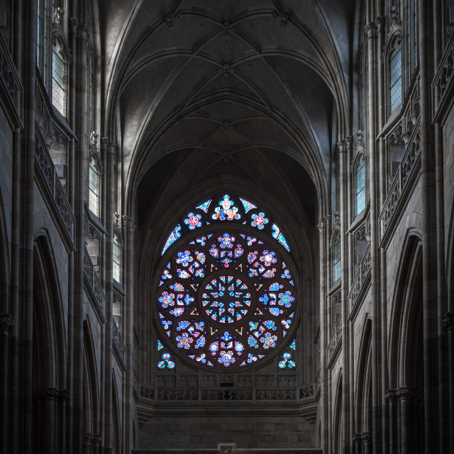"""""""A Cathedral Rose window, Prague, Czechia"""" stock image"""