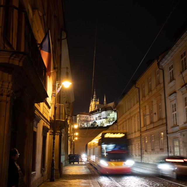 """Nighttime tram in Prage, czechia"" stock image"