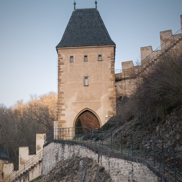 """Guard Tower at Karlštejn Castle, Prague, Czechia"" stock image"
