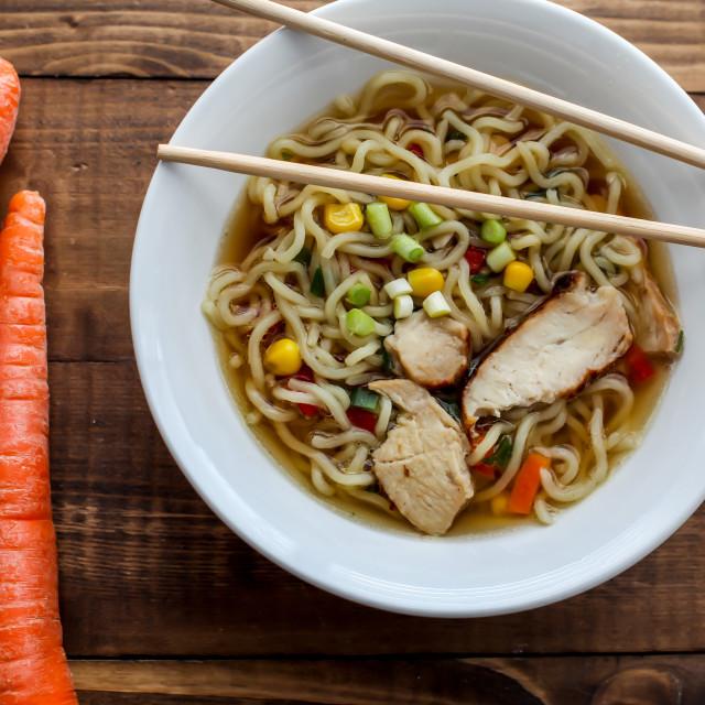 """Shoyu chicken Tokyo style ramen soup"" stock image"