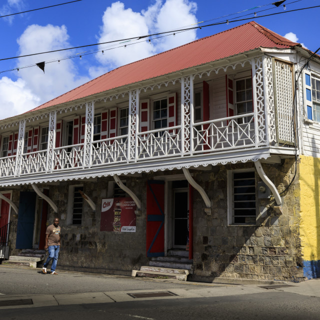 """""""Historic architecture, municipal buildings, Charlestown, Nevis, St. Kitts and..."""" stock image"""