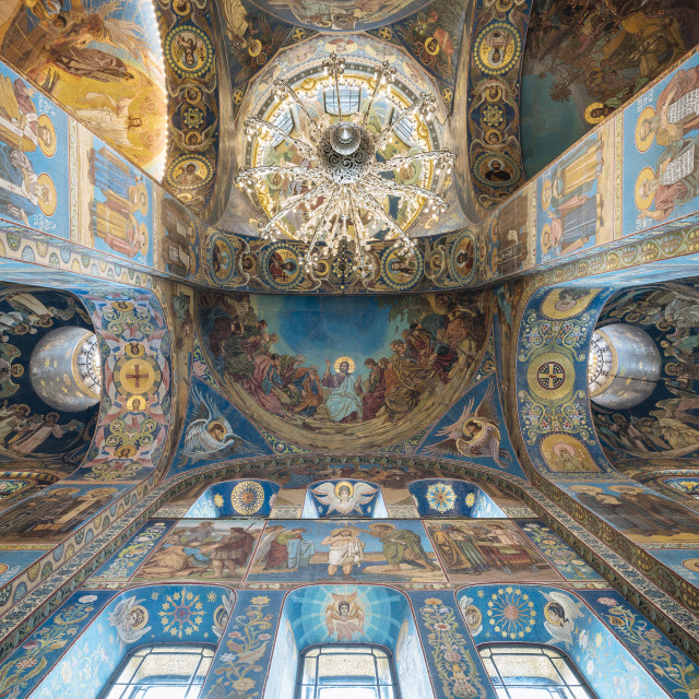 """Interior of Church of the Savior on Blood aka Church of the Resurrection,..."" stock image"