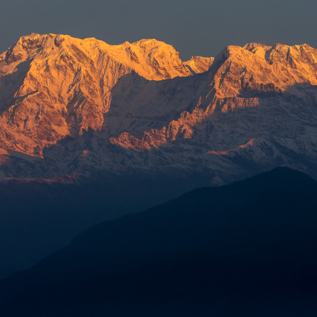 """Annapurna Massif seen from Sarangkot at sunrise"" stock image"